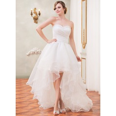 A-Line/Princess Sweetheart Asymmetrical Organza Wedding Dress With Ruffle Beading Sequins