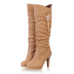 Women's Leatherette Stiletto Heel Platform Knee High Boots With Ruched Tassel shoes