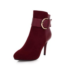 Suede Stiletto Heel Ankle Boots With Buckle shoes