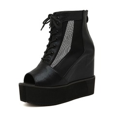 Leatherette Others Sandals Platform Ankle Boots With Lace-up shoes