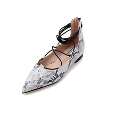 Leatherette Flat Heel Flats Closed Toe With Animal Print Braided Strap shoes