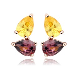 Colourful Copper/Zircon/Platinum Plated Women's/Ladies' Earrings