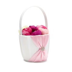 Pretty Flower Basket in Satin With Rhinestones/Sash