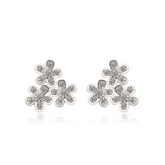 Flower Shaped Copper/Zircon/Platinum Plated Ladies' Earrings