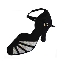 Women's Sparkling Glitter Suede Heels Sandals Latin With Ankle Strap Dance Shoes