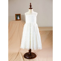 Knee-length Flower Girl Dress - Tulle/Lace Sleeveless Scoop Neck
