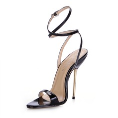 Women's Patent Leather Stiletto Heel Sandals Slingbacks shoes (087025075)