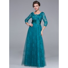 A-Line/Princess Scoop Neck Floor-Length Tulle Lace Mother of the Bride Dress With Ruffle Beading Sequins