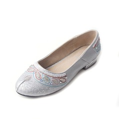 Women's Cloth Low Heel Flats Closed Toe With Imitation Pearl shoes