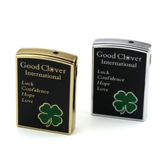 Personalized Four Leaf Clover Stainless Steel Electronic Lighter