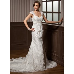 Trumpet/Mermaid Sweetheart Chapel Train Tulle Wedding Dress With Beading Appliques Lace Bow(s)