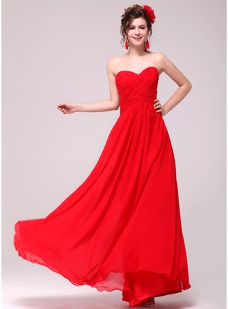 A-Line Sweetheart Ruched Bodice Floor-length Chiffon Bridesmaid Dress