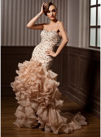 Trumpet/Mermaid Sweetheart Asymmetrical Organza Prom Dress With Beading Cascading Ruffles