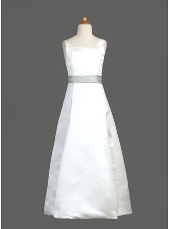 A-Line/Princess Square Neckline Floor-Length Satin Flower Girl Dress With Sash