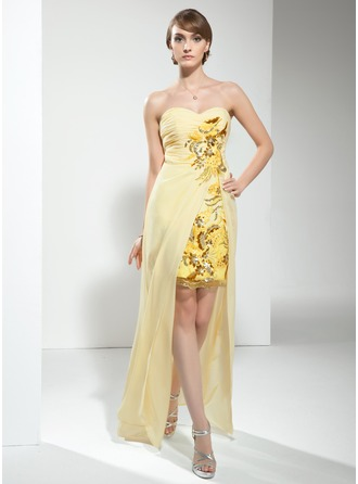 Sheath/Column Sweetheart Floor-Length Chiffon Cocktail Dress With Ruffle Beading Sequins
