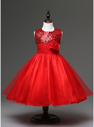 Ball Gown Knee-length Flower Girl Dress - Sequined/Cotton Blends Sleeveless Scoop Neck With Sash/Flower(s)