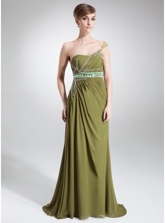 A-Line/Princess One-Shoulder Sweep Train Chiffon Tulle Charmeuse Mother of the Bride Dress With Ruffle Sash Beading