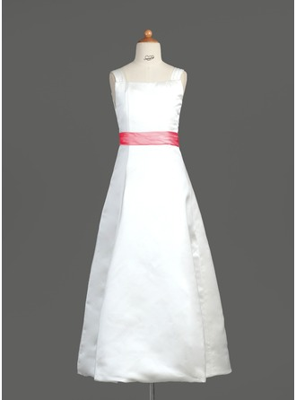 A-Line/Princess Square Neckline Floor-Length Satin Junior Bridesmaid Dress With Sash