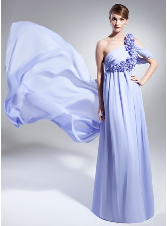 A-Line/Princess One-Shoulder Watteau Train Chiffon Evening Dress With Ruffle Flower(s)