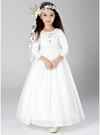 A-Line/Princess Ankle-length/Floor-length Flower Girl Dress - Satin/Tulle Long Sleeves Scoop Neck With Sequins