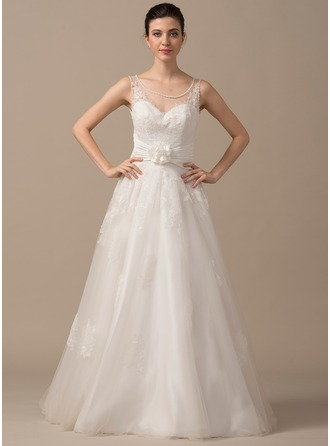 Ball-Gown Scoop Neck Floor-Length Satin Tulle Lace Wedding Dress With Ruffle Beading Flower(s) Bow(s)