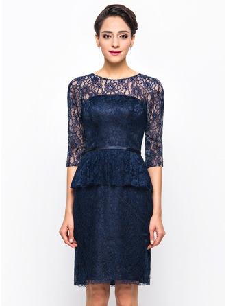 Sheath/Column Scoop Neck Knee-Length Charmeuse Lace Cocktail Dress