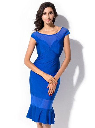 Sheath/Column Scoop Neck Knee-Length Tulle Jersey Cocktail Dress With Cascading Ruffles