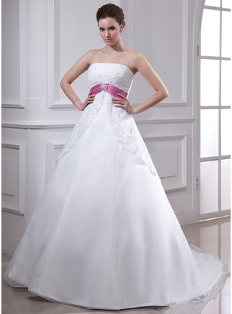 Empire Strapless Chapel Train Organza Wedding Dress With Lace Sash Crystal Brooch