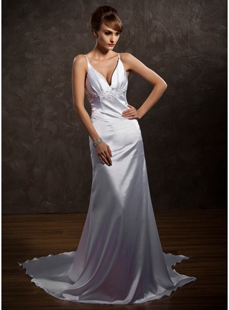 A-Line/Princess V-neck Watteau Train Charmeuse Wedding Dress With Beading Appliques Lace