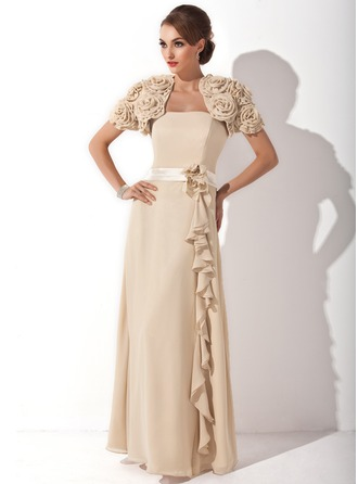 A-Line/Princess Strapless Floor-Length Chiffon Charmeuse Mother of the Bride Dress With Flower(s) Cascading Ruffles