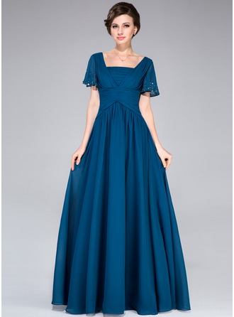 A-Line/Princess Square Neckline Floor-Length Chiffon Mother of the Bride Dress With Beading Sequins Cascading Ruffles
