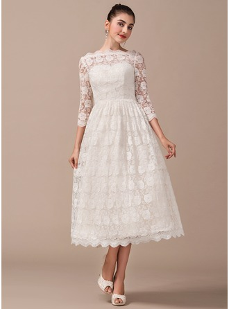 A-Line/Princess Off-the-Shoulder Tea-Length Lace Wedding Dress