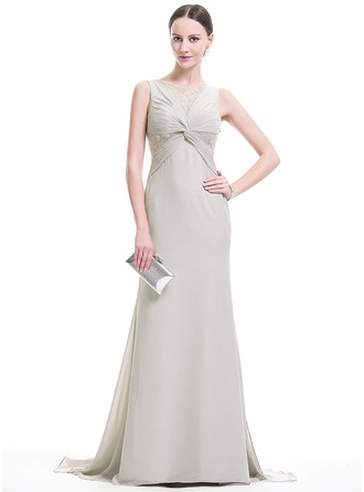 Trumpet/Mermaid Scoop Neck Sweep Train Chiffon Evening Dress With Ruffle Beading Sequins