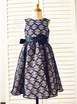 A-Line/Princess Tea-length Flower Girl Dress - Lace Sleeveless Scoop Neck With Lace/Flower(s)