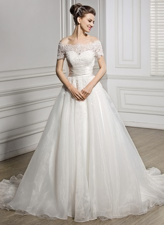 A-Line/Princess Off-the-Shoulder Court Train Organza Satin Lace Wedding Dress With Ruffle Beading Sequins
