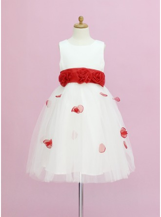 A-Line/Princess Scoop Neck Ankle-Length Tulle Flower Girl Dress With Sash Flower(s) Bow(s)