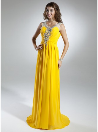 A-Line/Princess Scoop Neck Sweep Train Chiffon Organza Holiday Dress With Ruffle Beading