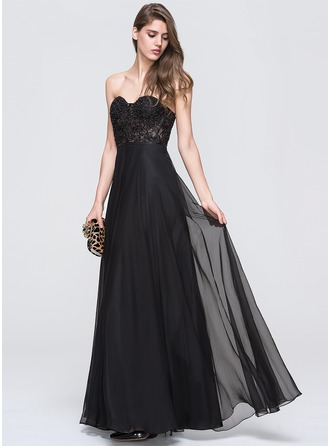 A-Line/Princess Sweetheart Floor-Length Chiffon Prom Dress With Beading