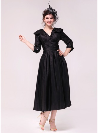A-Line/Princess V-neck Tea-Length Taffeta Holiday Dress With Ruffle