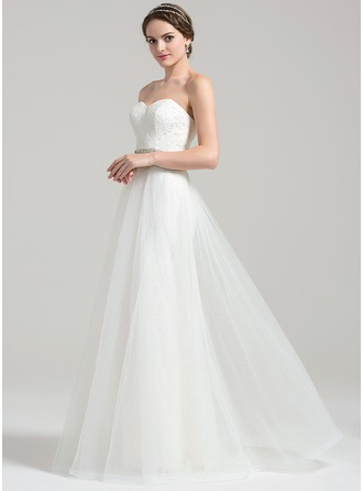 A-Line/Princess Sweetheart Floor-Length Tulle Lace Wedding Dress With Beading Sequins