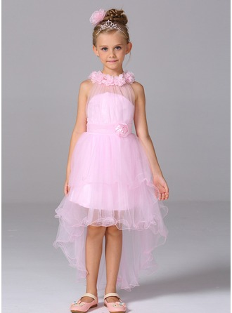 Princess Court Train Flower Girl Dress - Tulle Sleeveless High Neck With Flower(s)