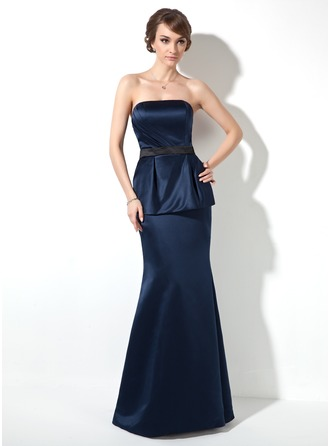 Trumpet/Mermaid Strapless Floor-Length Satin Holiday Dress With Ruffle Sash