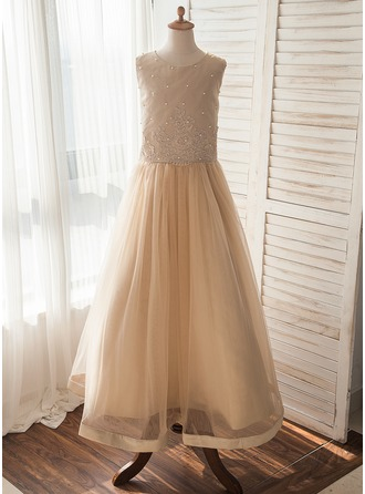 A-Line/Princess Floor-length Flower Girl Dress - Tulle Sleeveless Scoop Neck With Beading/Appliques