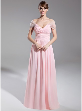 A-Line/Princess Off-the-Shoulder Floor-Length Chiffon Tulle Evening Dress With Ruffle Beading