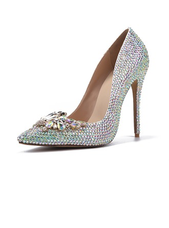 Women's Patent Leather Stiletto Heel Closed Toe Pumps With Rhinestone