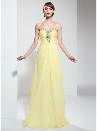 Empire Sweetheart Sweep Train Chiffon Holiday Dress With Ruffle Beading Sequins