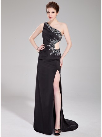 Sheath/Column One-Shoulder Sweep Train Chiffon Prom Dress With Ruffle Beading Sequins Split Front