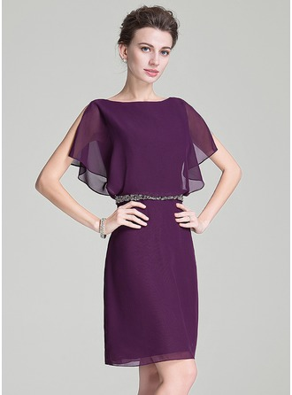 A-Line/Princess Scoop Neck Knee-Length Chiffon Mother of the Bride Dress With Beading Sequins Cascading Ruffles