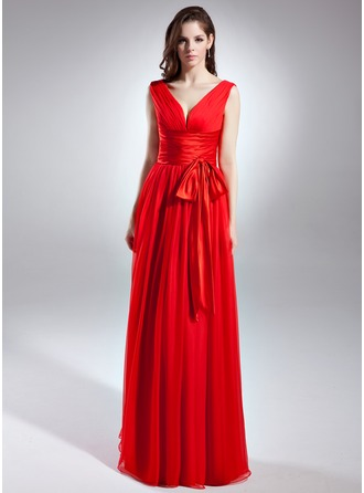 A-Line/Princess V-neck Floor-Length Chiffon Charmeuse Evening Dress With Ruffle Bow(s)