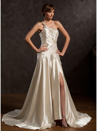 A-Line/Princess One-Shoulder Court Train Charmeuse Mother of the Bride Dress With Embroidered Ruffle Split Front
